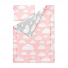 Lampsco Pościel Dziecięca 100x135 Cm Chmurki Pink Grey