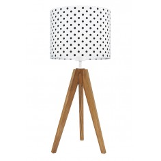 Lampa na stolik Grochy czarne Dąb