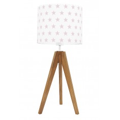 Lampa na stolik Gwiazdki różowe Dąb
