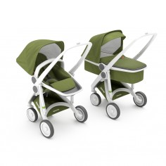 Greentom 2w1 Carrycot + Reversible Oliwkowy - biała rama
