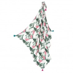 Bambusowy Otulacz Mgiełka Fringe - King Size - Aruba's Pink Flamingos