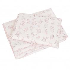 Pościel z wypełnieniem listki lila różowa wypustka 75/100 cm