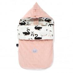 "Velvet Collection - Stroller Bag Premium Śpiworek ""S"" - Moonlight Swan - Powder Pink"