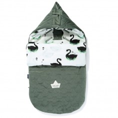 "Velvet Collection - Stroller Bag Premium Śpiworek ""S"" - Jungle Swan - Khaki"