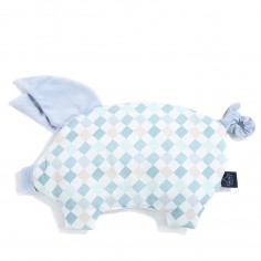 Velvet Collection - Podusia Sleepy Pig - La Millou Familly Chessboard - Powder Blue