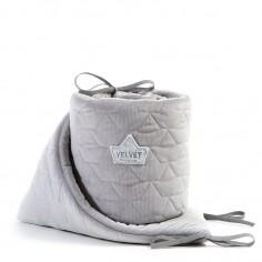 Velvet Collection - Ochraniacz do łóżeczka 70x140 cm - Dark Grey & Grey