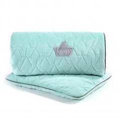 Velvet Collection - Set - Blanket & Mid Pillow - Audrey Mint & Grey