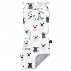 Velvet Collection - Stroller Pad - Doggy Unicorn - Dark Grey