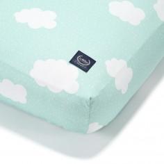 Prześcieradło Good Night 60x120 cm - Clouds On Mint
