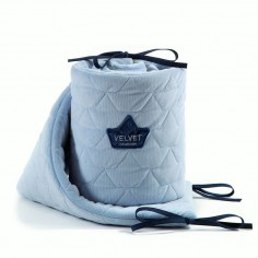 Velvet Collection - Ochraniacz do łóżeczka 70x140 cm - Dusty Blue
