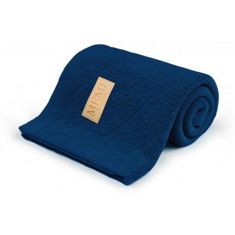 Ciepły podwójnie tkany kocyk bawełniany 80x100 Navy Blue