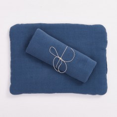Muślinowa poduszka niemowlęca z bawełny organicznej - musztardowa