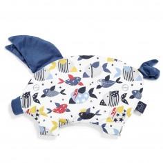 Velvet Collection - Podusia Sleepy Pig - Bad Fish - Harvard Blue