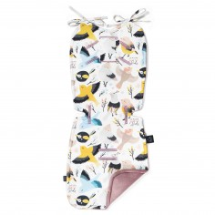Velvet Collection - Thick Stroller Pad - Cute Birds Vivid - French Lavender