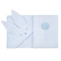 Bambusowy ręcznik błękitny Króliczek
