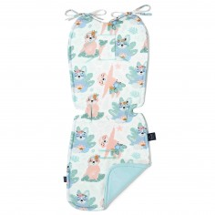 Velvet Collection - Thick Stroller Pad - Yoga Candy Sloths - Audrey Mint