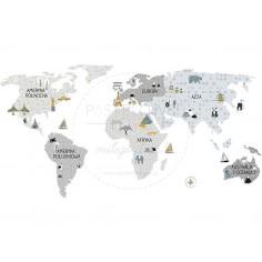 Naklejka, Mapa Świata - Szara - M