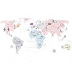 Naklejka, Mapa Świata - Róowa - L