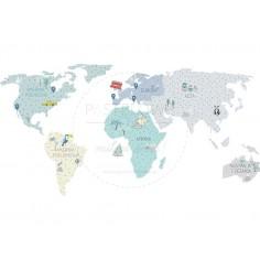 Naklejka, Mapa Świata - Niebieska - S