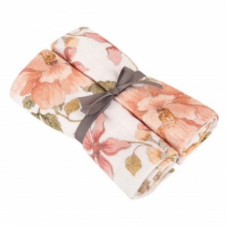 Otulacz pieluszka antykomarowa kwiaty 70x100