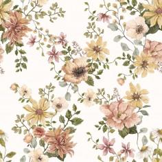 Bambusowy zestaw vintage bloom otulacz i poduszka z USZKAMI musztardowa wypustka