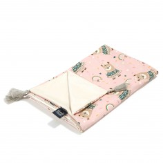 Kocyk Light Średniaka - Yoga Candy Sloths - Powder Pink