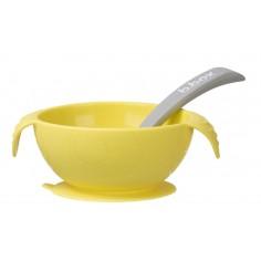 Silikonowa miseczka z przyssawką i łyżeczką - Lemon Sherbet
