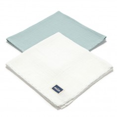 Biscuit Collection - 2 Pack Pieluszka 100% Cotton Muślin - Mint & Off White