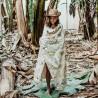 Bambusowy Otulacz Mgiełka Fringe - Boho Palms Light