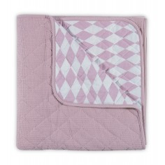 Dwustronna narzuta na łóżeczko Różowo-Biała